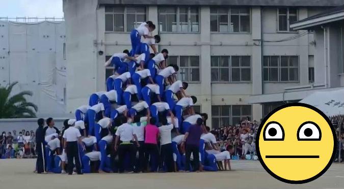 ¡Ouch! Casi logran completar una pirámide humana hasta que… - VIDEO