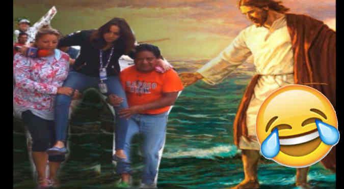Viral: Reportera no quiso mojarse en una inundación y le hicieron memes - FOTOS