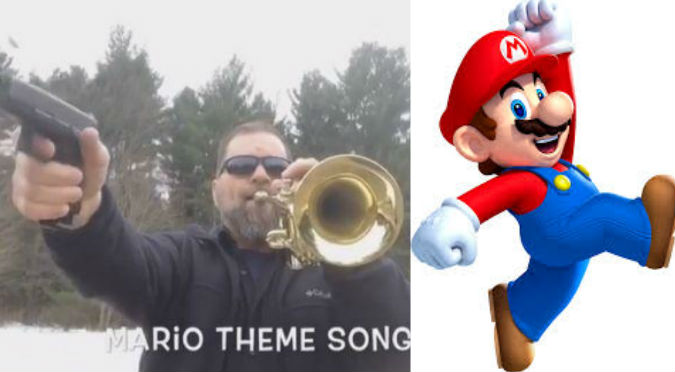 YouTube: Tocó el tema de Mario Bros con trompeta y pistola