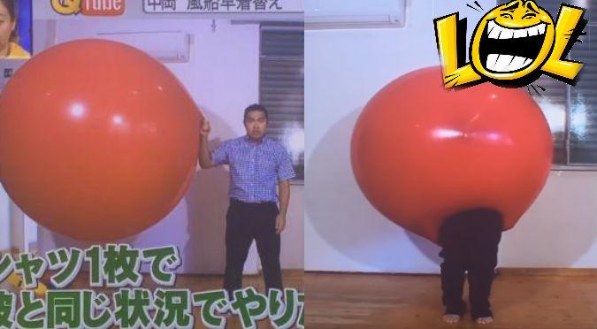 YouTube: Se cambió de ropa dentro de este globo gigante y pasó tremendo roche
