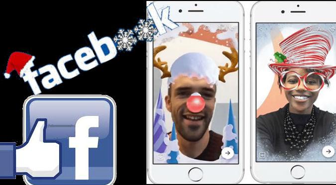 Facebook:  Añadió efectos y máscaras para estas fiestas navideñas ¡en 3D!