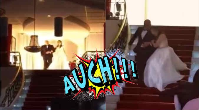 ¡Quinceañera se tropieza en plena presentación y ...! (VIDEO)