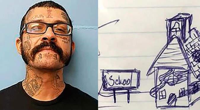 Una amenaza a través de la tarea de un alumno — Impactante dibujo