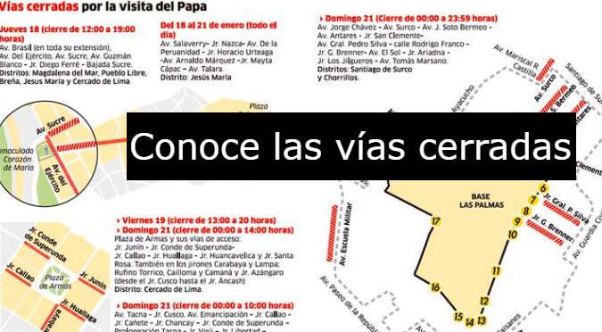 Papa Francisco: Conozca las vías que serán cerradas durante su visita a Perú