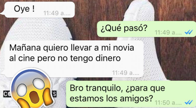 Whatsapp: Amigo le ofrece 'ayuda' porque no tenía dinero para salir con su novia