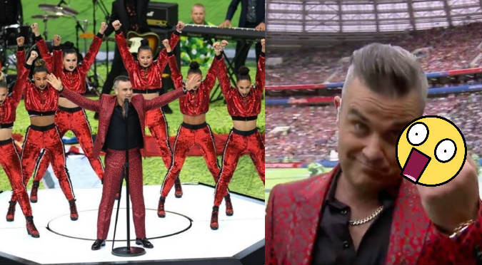 Rusia 2018: Robbie Williams y su gesto obsceno en plena ceremonia del Mundial