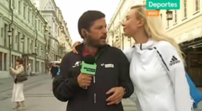 Rusa besó a Pedro García en plena transmisión en vivo (VIDEO)