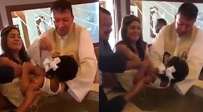 Niña insulta a cura en pleno bautizo y él reacciona así (VIDEO)