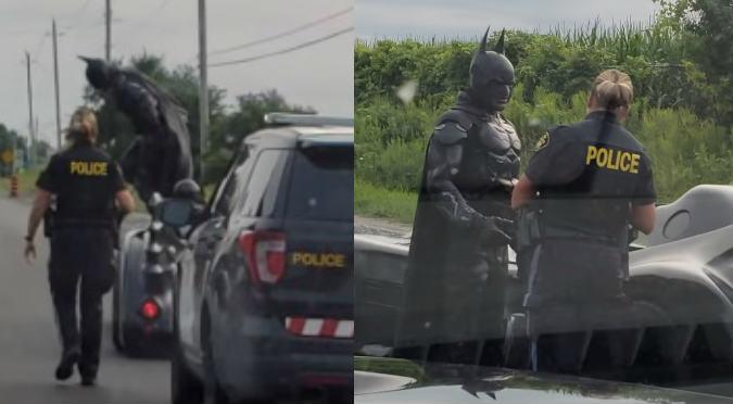 Policía detuvo a Batman y conductores quedaron asombrados (VIDEO)
