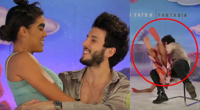 Sebastián Yatra sufre caída mientras coqueteaba con actriz (VIDEO)