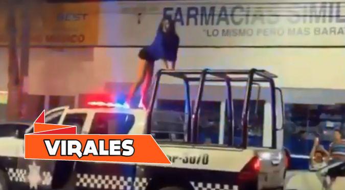 Mujer baila reggaetón en techo de patrullero y policías no pudieron detenerla (VIDEO)