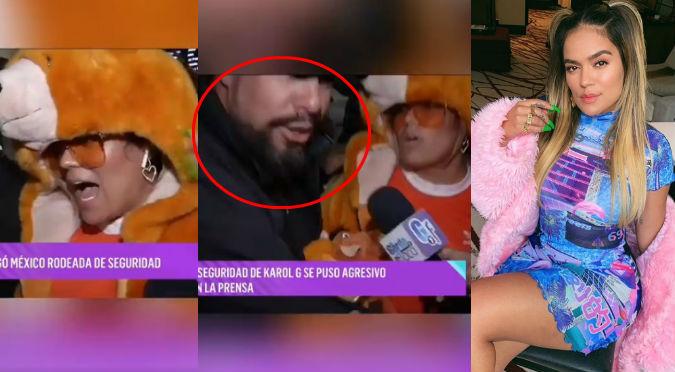 Seguridad de Karol G se lanza contra reportera tras pregunta indiscreta (VIDEO)