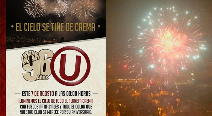 Universitario celebra su aniversario 96 con fuegos artificiales en todo Lima