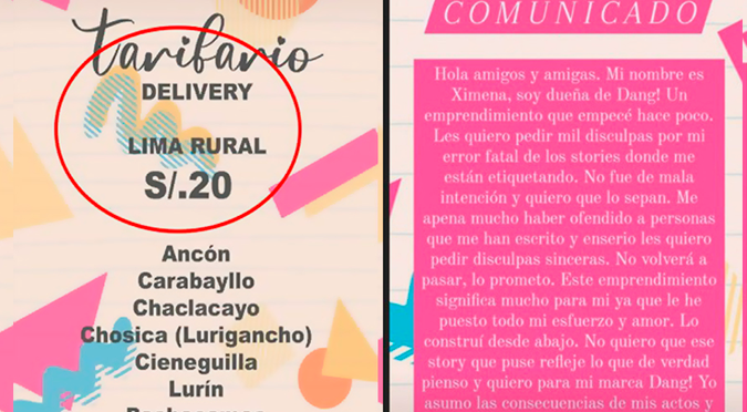 Tienda de ropa se disculpa por segmentar distritos como 'Lima Rural y Lima Alrededores'