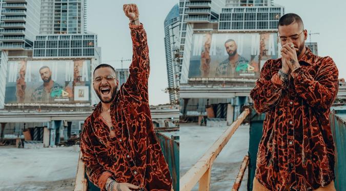 Mira la curiosa reacción de Maluma al ver su disco '7 días en Jamaica' en una valla publicitaria en Miami   VIDEO